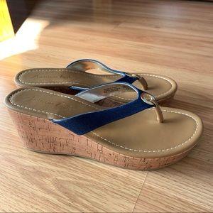 American Eagle Denim Thong Wedge Sandal